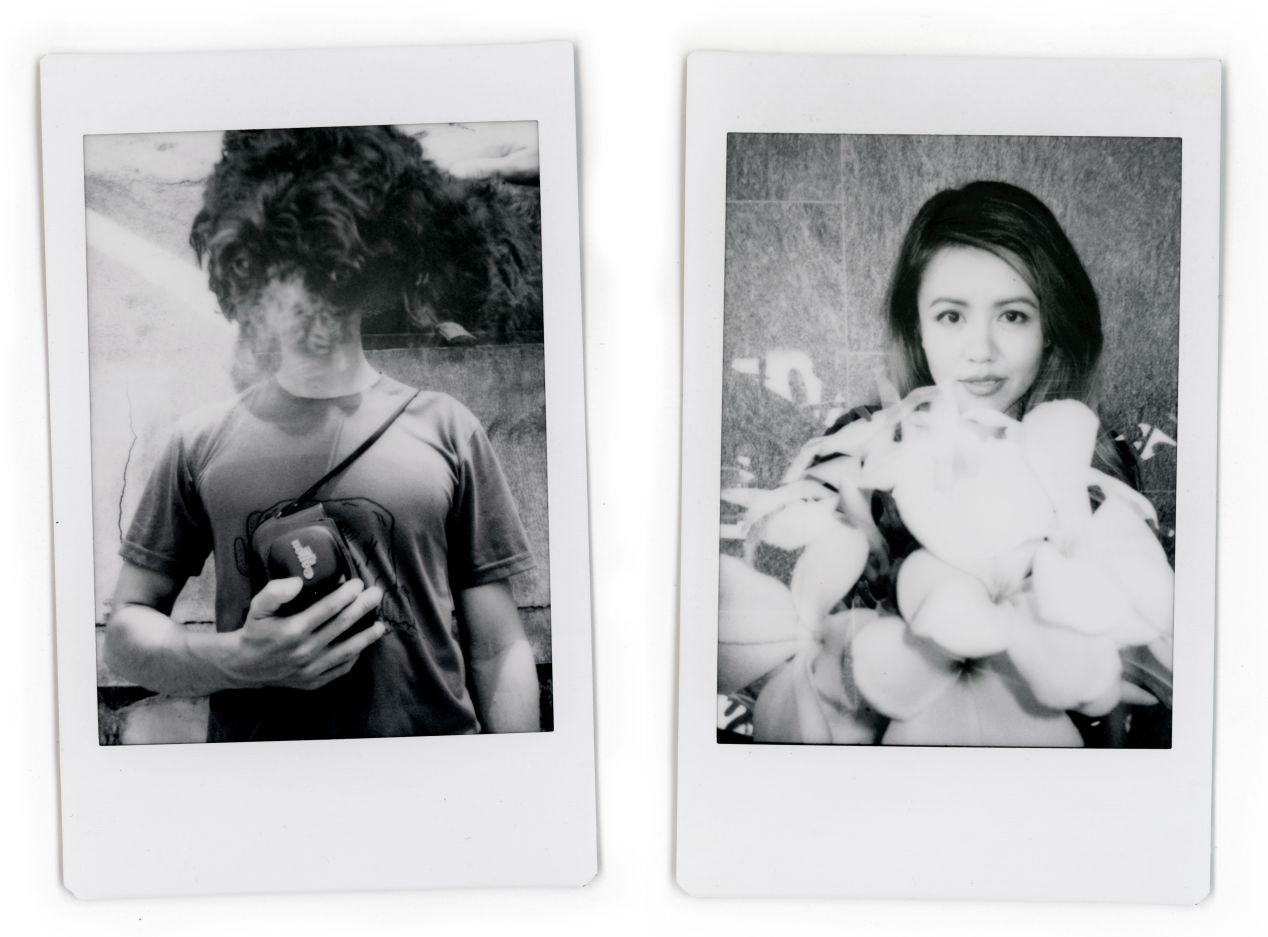 Double-exposure portraits on monochrome Instax film.