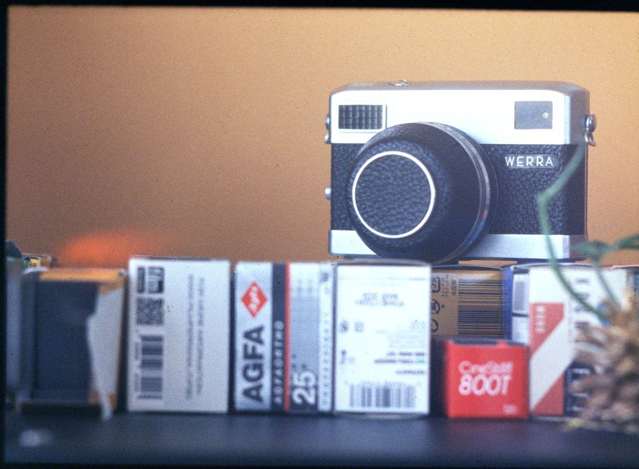 Werramat with the lens cap/lens hood on.