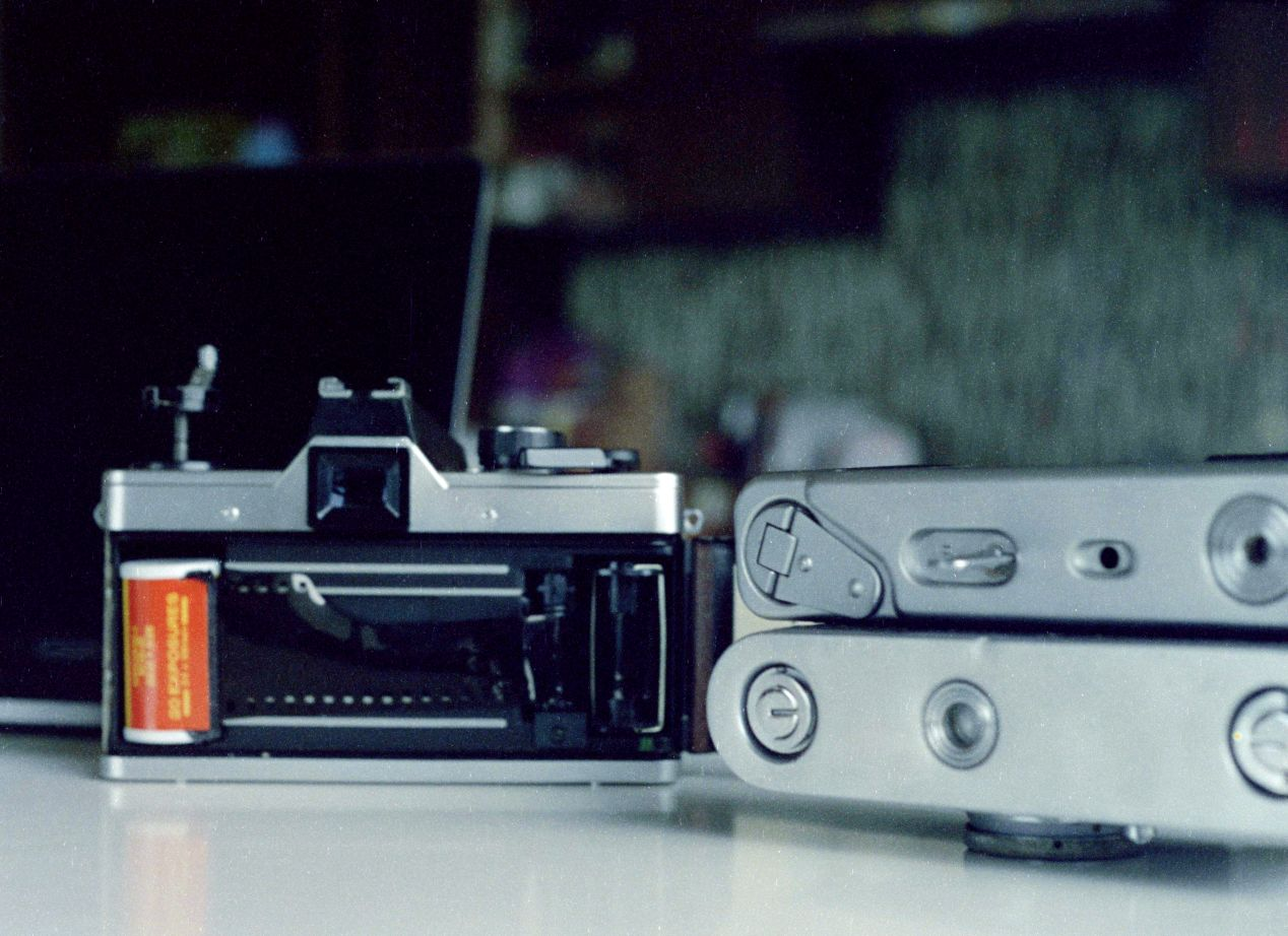 The back of Pratcica MTL 5B camera with some film.