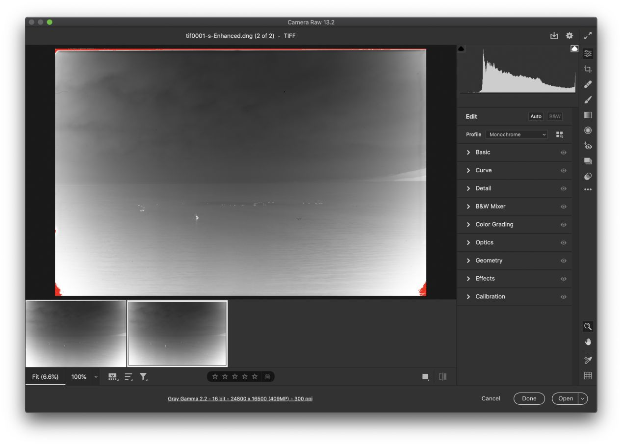 Enhanced! Adobe Super Resolution boosted my 137-megapixel film scan into a 409-megapixel one.