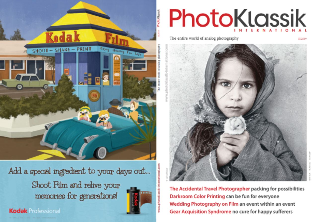 Issue 3/2019 of PhotoKlassik magazine features a full back-page Kodak ad in its full retro-graphic glory.