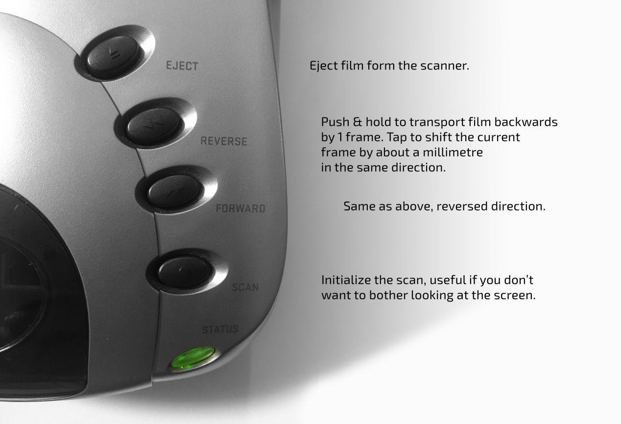 Pacific Image PrimeFilm XA scanner controls explained.