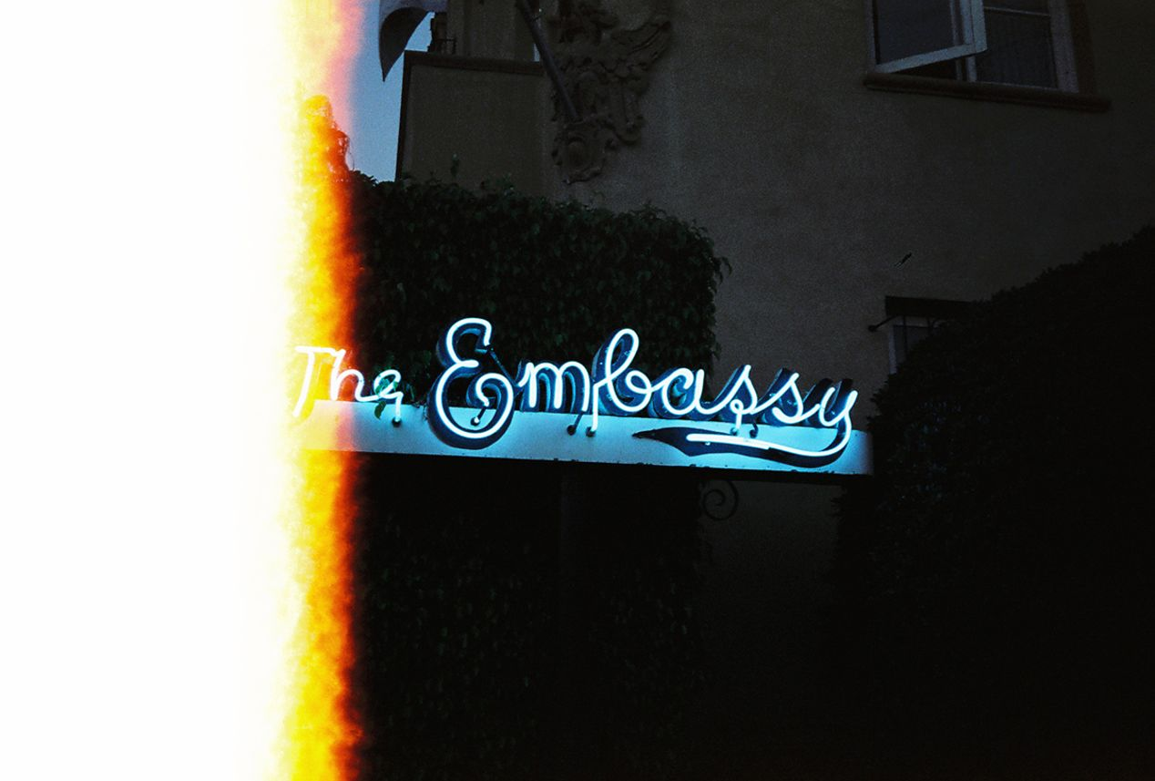 Old Sign in Santa Monica, California. Taken with a Yashica T5 and CineStill 800T film.