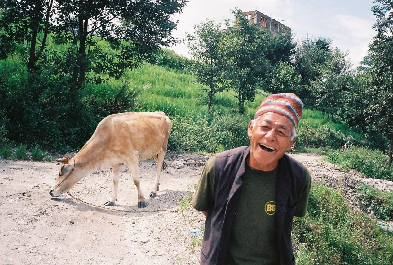 Smiling Baje (grand-father in Nepali), Kathmandu Valley, Olympus MjuII, Kodak Ultramax 400.