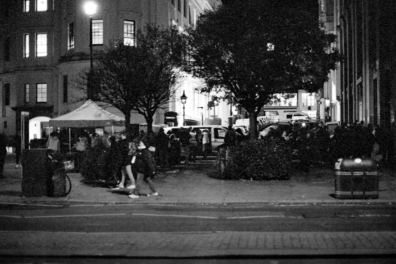Food Station on the Strand, at the back of the St. Martin -in-the-Fields church, Autumn 2020 (Kodak T-Max 3200 exposed at box speed)