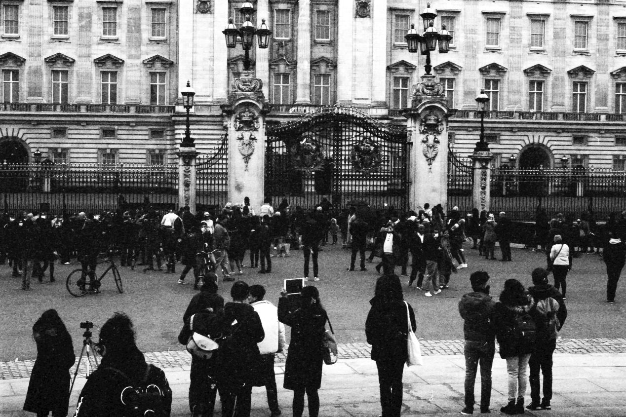 People at the gates, Buckingham Palace, 9-10 April 2021. Taken with the Canon EF camera and a Tamron 17 mm f./3.5 on Eastman Double-X film.
