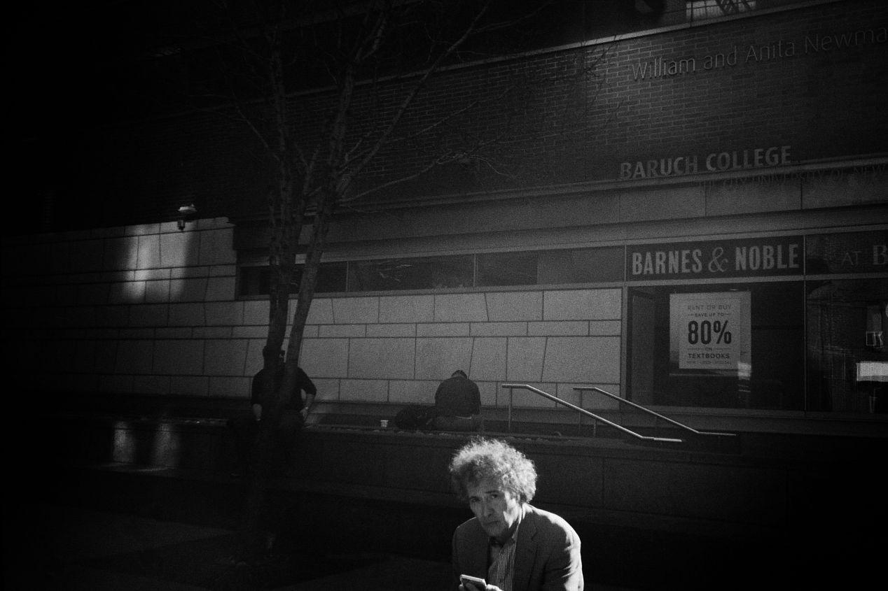 Three men. Tree. New York. Olympus AX, Kodak Tri-X.