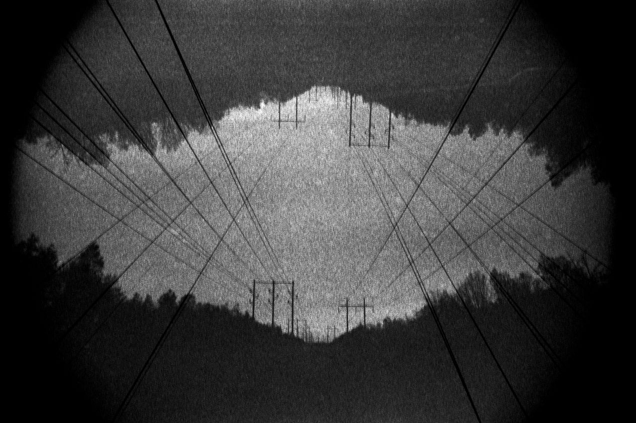 """""""Like Antennas to Heaven…"""" (2020) — double-exposure, shot with Ilford Delta 3200, Nikon F100, and 55mm macro lens."""