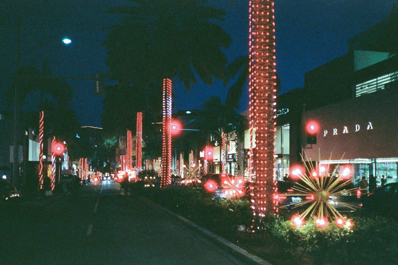 Holiday Lights and Decorations in Beverly Hills, California.