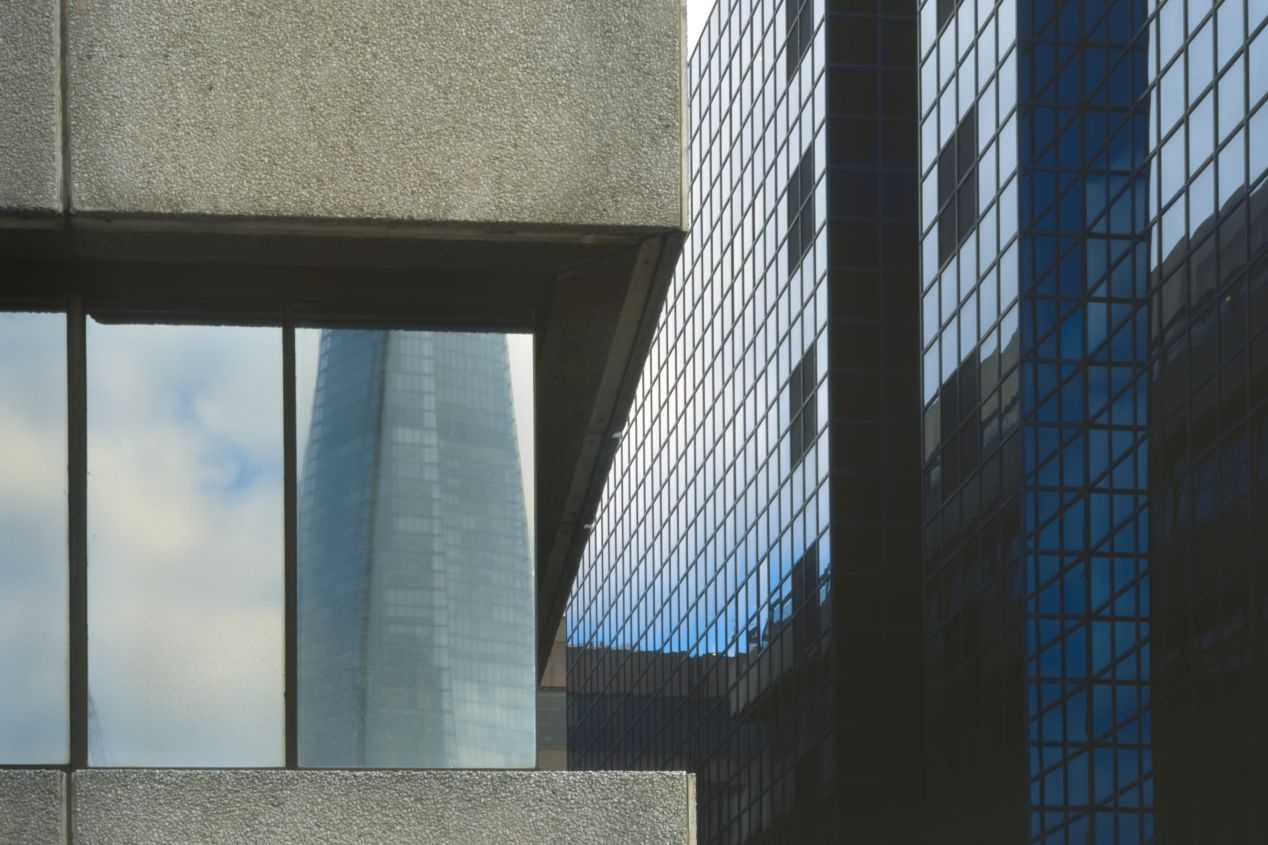 Reflection of the Shard on the windows of St. Magnus House.  180/5.6 Fujinon.