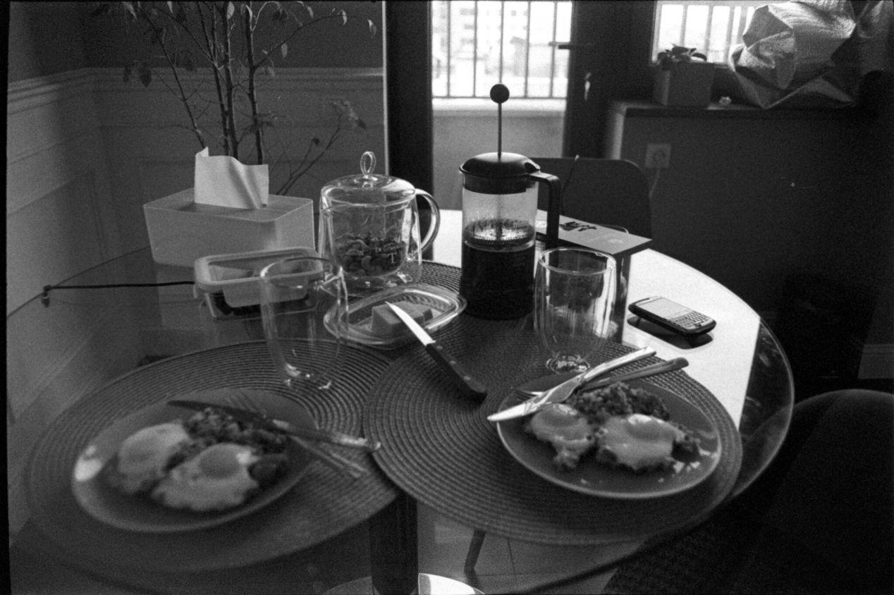March 20, 2020. Buckwheat + eggs — a late breakfast.