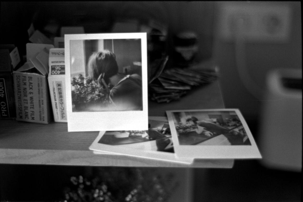 April 12, 2020. Me on Polaroid and Instax Wide, both photos taken on the same day.