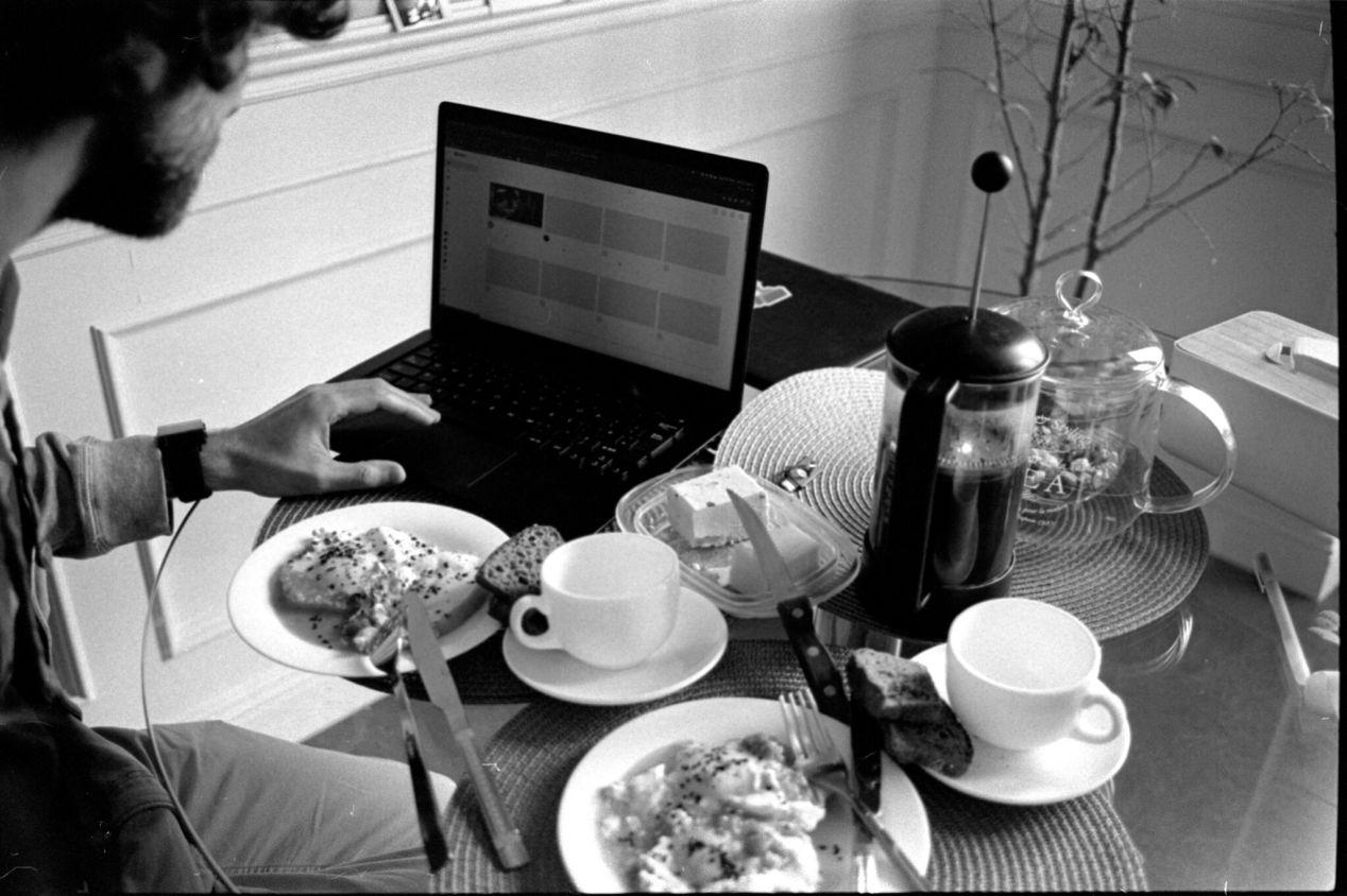 April 4, 2020. late breakfast + coffeecofffeeeee!