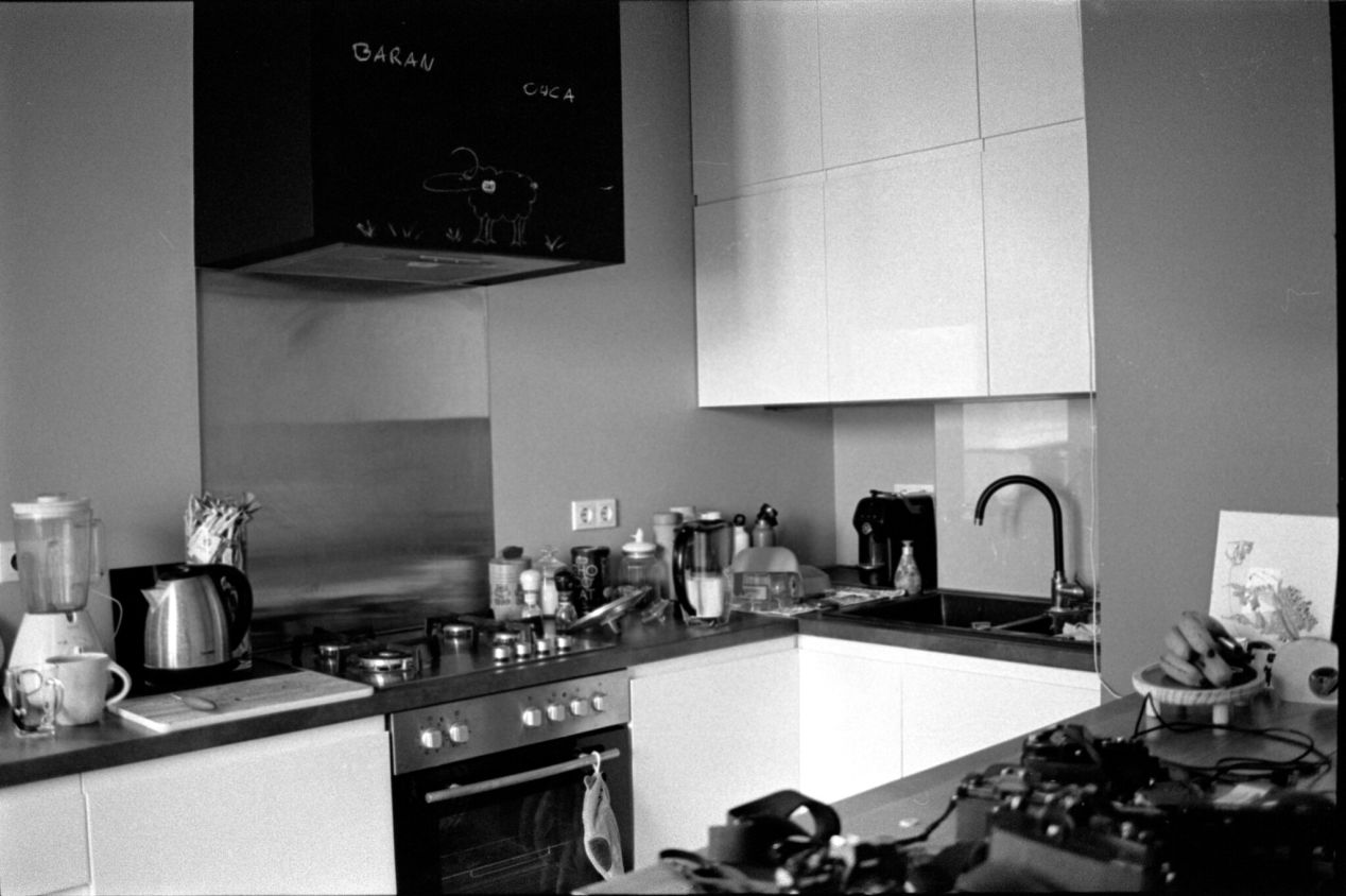 April 4, 2020. Kitchen before late breakfast.