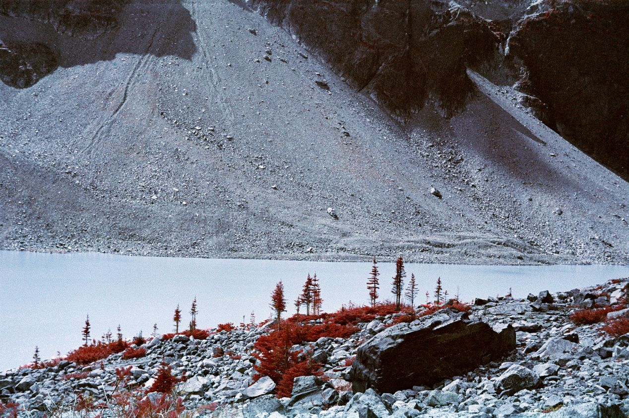 Kodak Aerochrome cross-processed in C-41, shot with the 133/21 G1 mild yellow filter. I love how in this photo, if you look closely enough, you'll notice slight hints of red on the mountan slope behind the lake and in the lake water itself, suggesting there are some things living there that reflect the infrared light.
