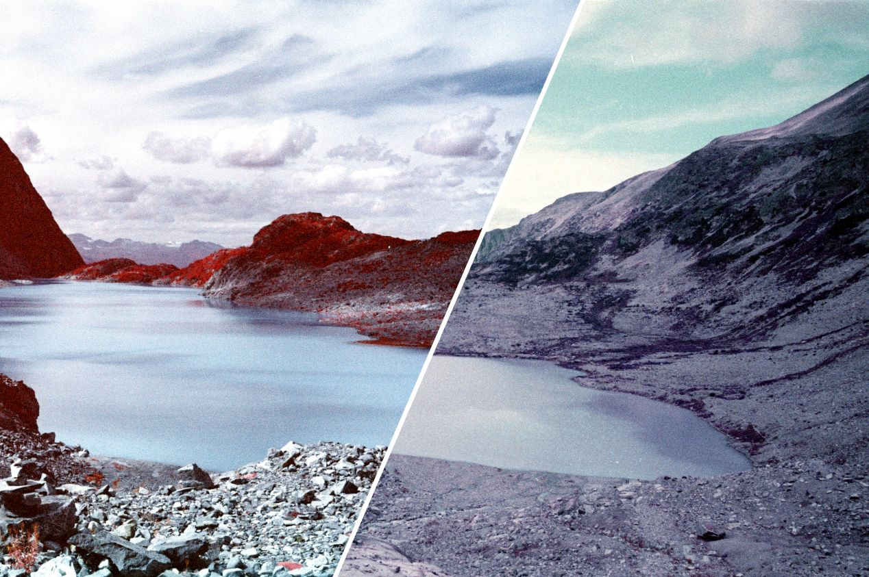 The same Wedgemount lake photographed on Kodak Aerochrome and Lomography Lomochrome Purple films. The image on the left includes information not visible by human eyes, highlighted in red — while the image on the right simply alters how visible light is reproduced.
