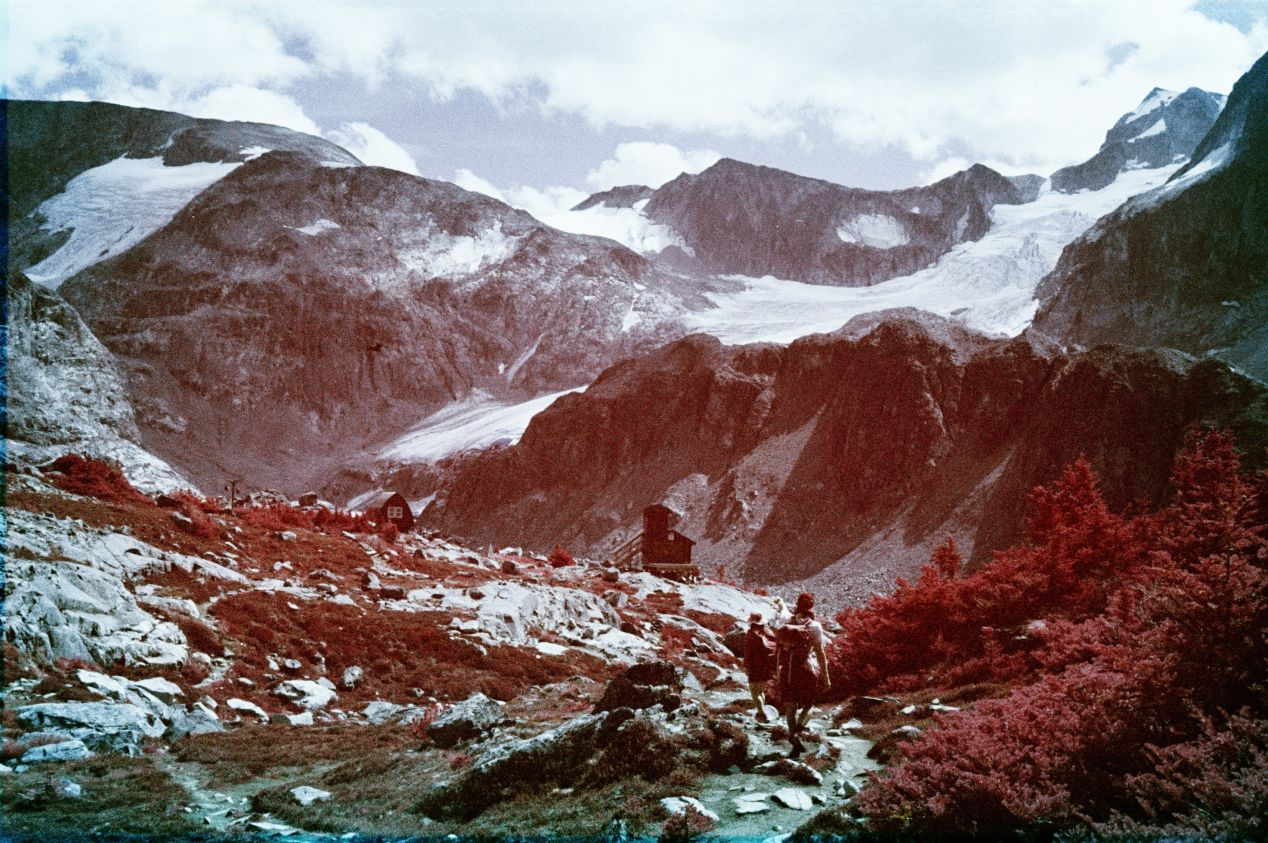 Kodak Aerochrome cross-processed in C-41, shot with the 125/22 G2 yellow filter. In the original scan, there was a lot of red that I've compensated for with Curves and Color Balance adjustment layers. Note the skin tones and the boulders that I worked on to remain in their natural colour.