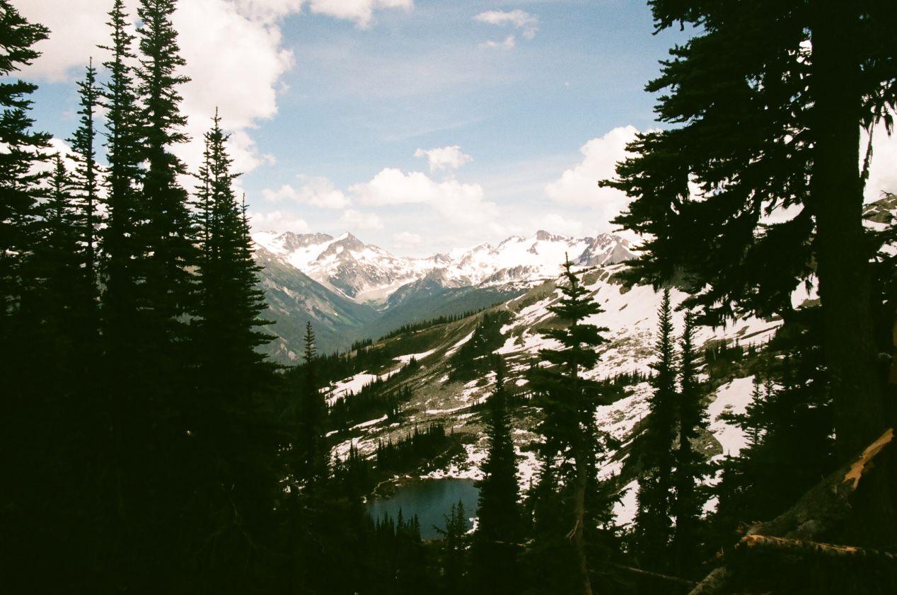 Hidden lakes among the peak of Blackcomb Mountain.