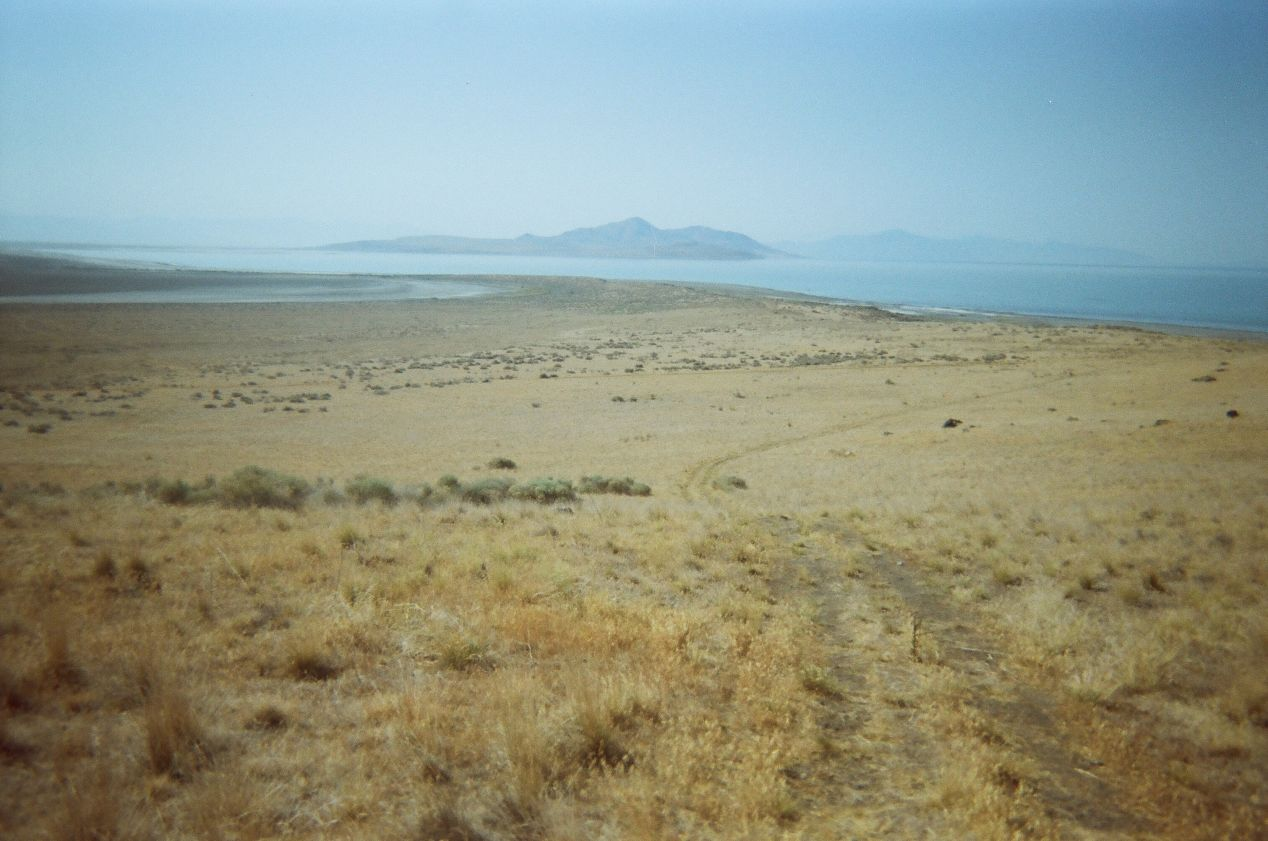Antelope Island in the distance, Fremont Island.