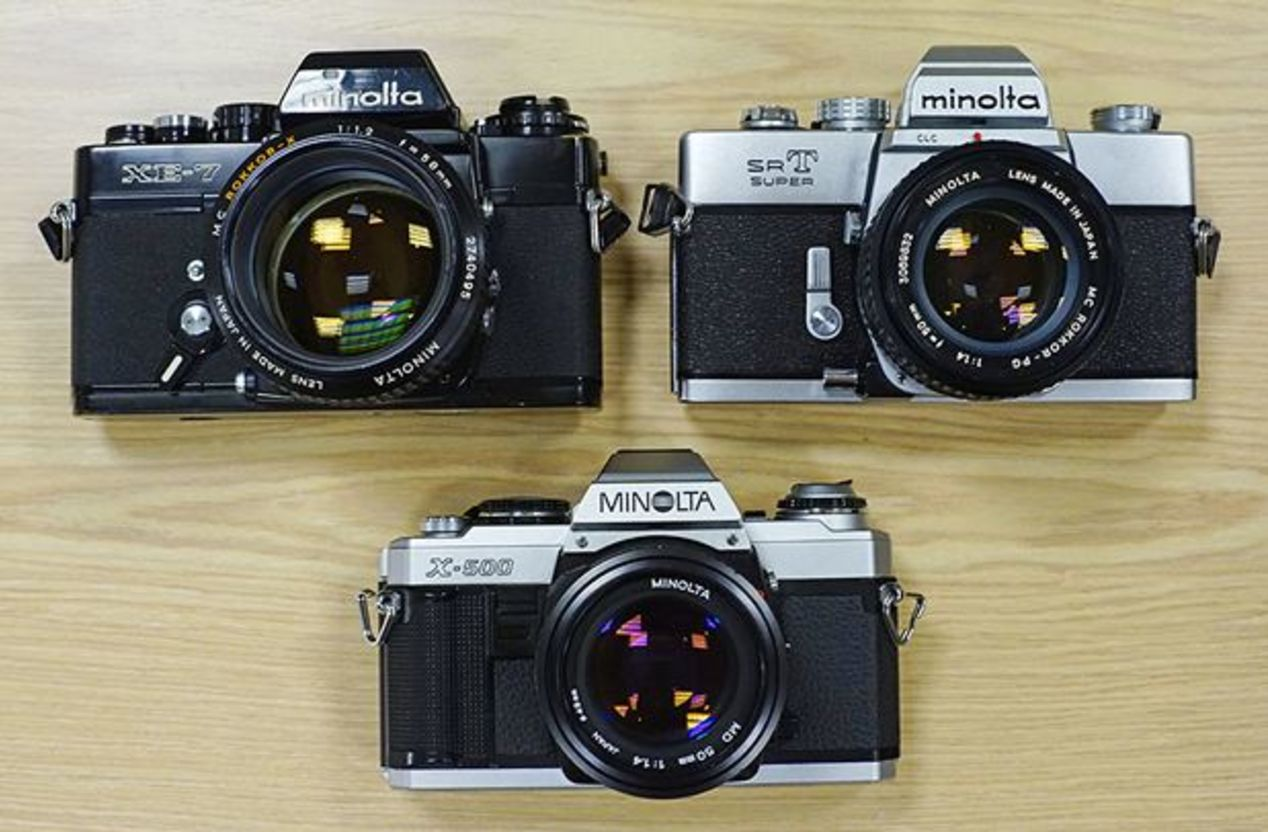 Minolta XE/XE-7 ~$75, Minolta SRT-102/SRT Super ~$80, and Minolta X-500/X-570 ~$65.
