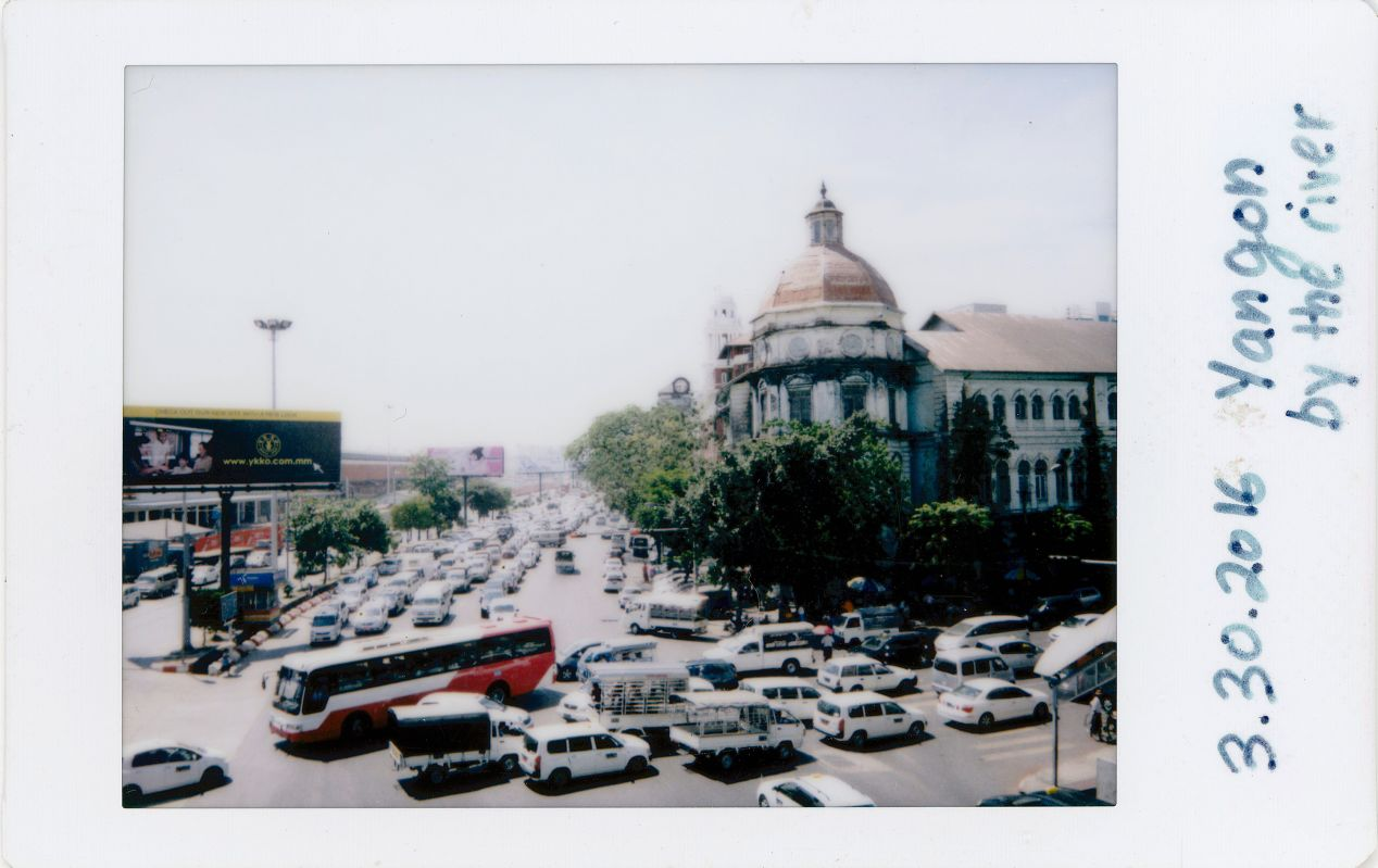 A busy intersection in downtown Yangon.