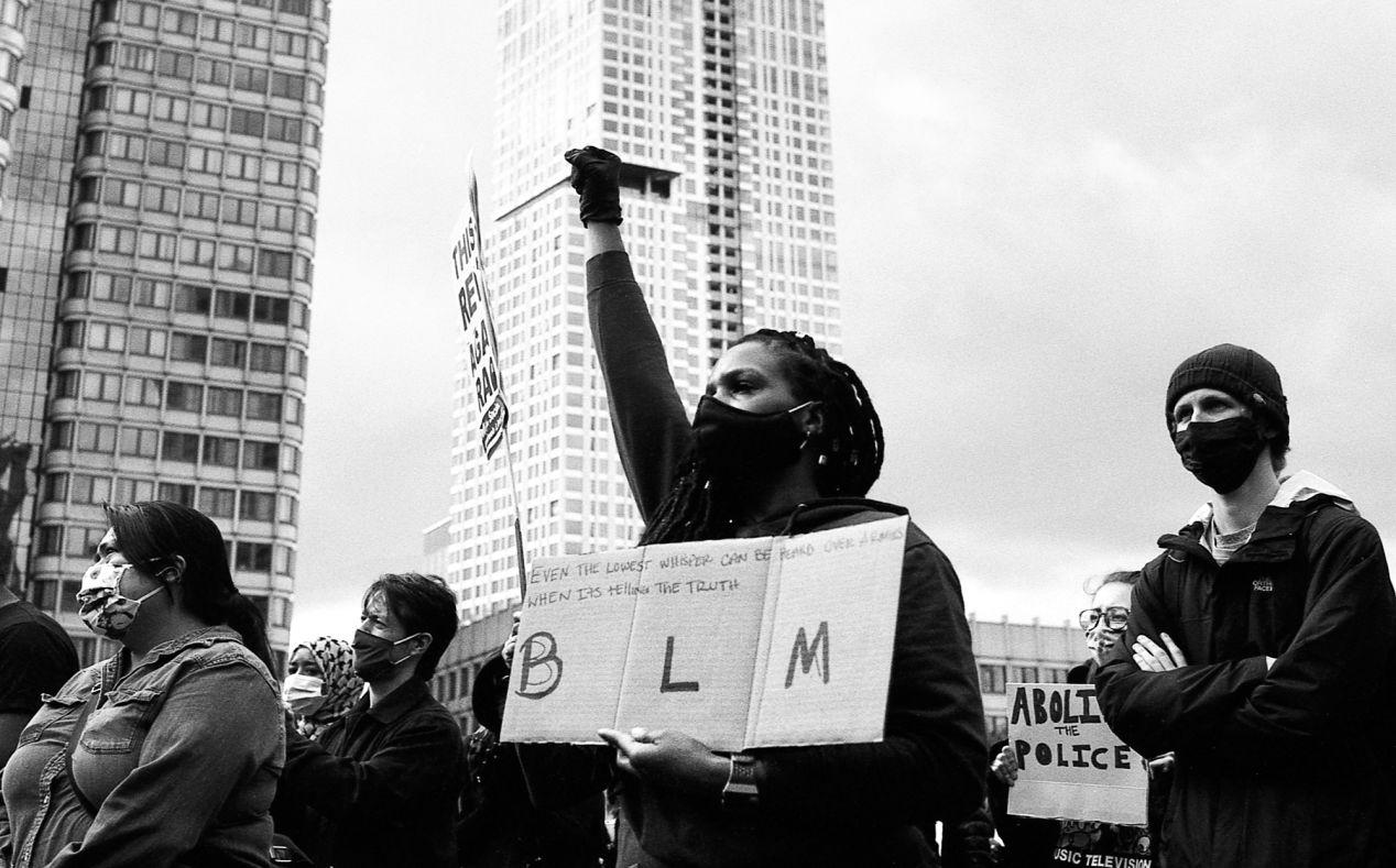 Black Lives Matter protester outside Boston City Hall.