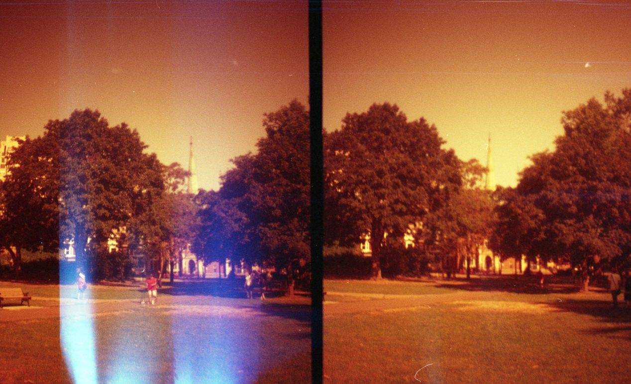 Flipped (redscale) Lomography Color Negative 400 on Diana Mini (in square mode) with light leaks.