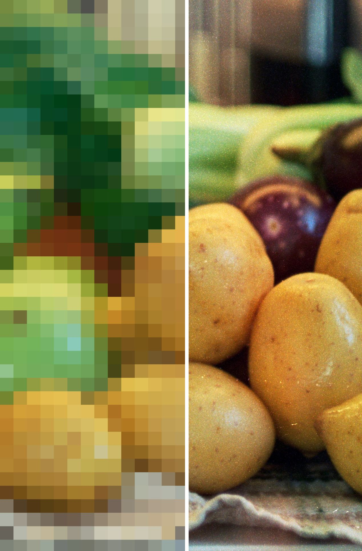 A 400% crop from a CineStill 50D scan at 75DPI (left) vs. 5,000DPI (right).