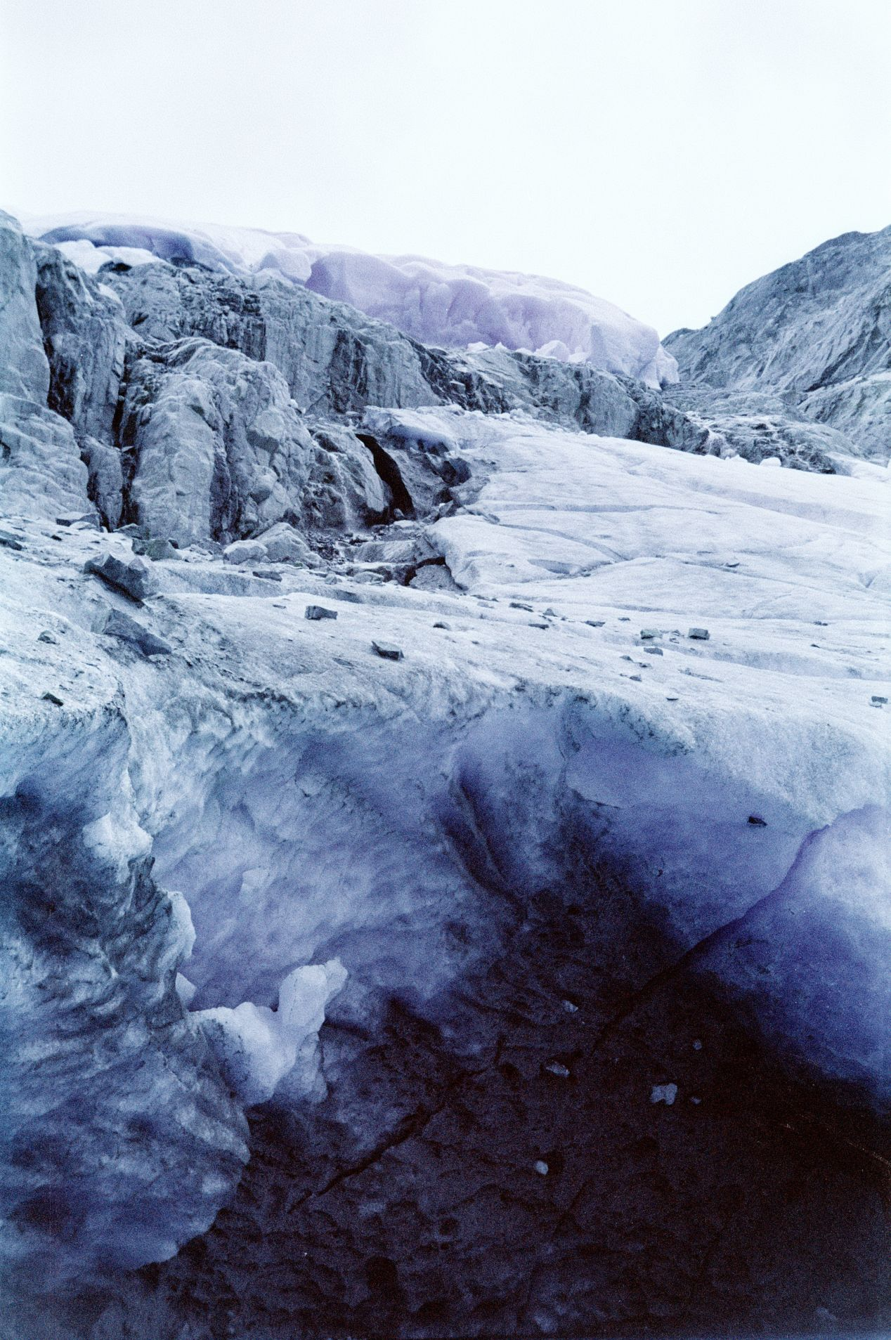 A glacier at Wedgemount lake on Kodak Aerochrome. There isn't much IR glow to speak of here but the colours are still rather unique and toy-like.