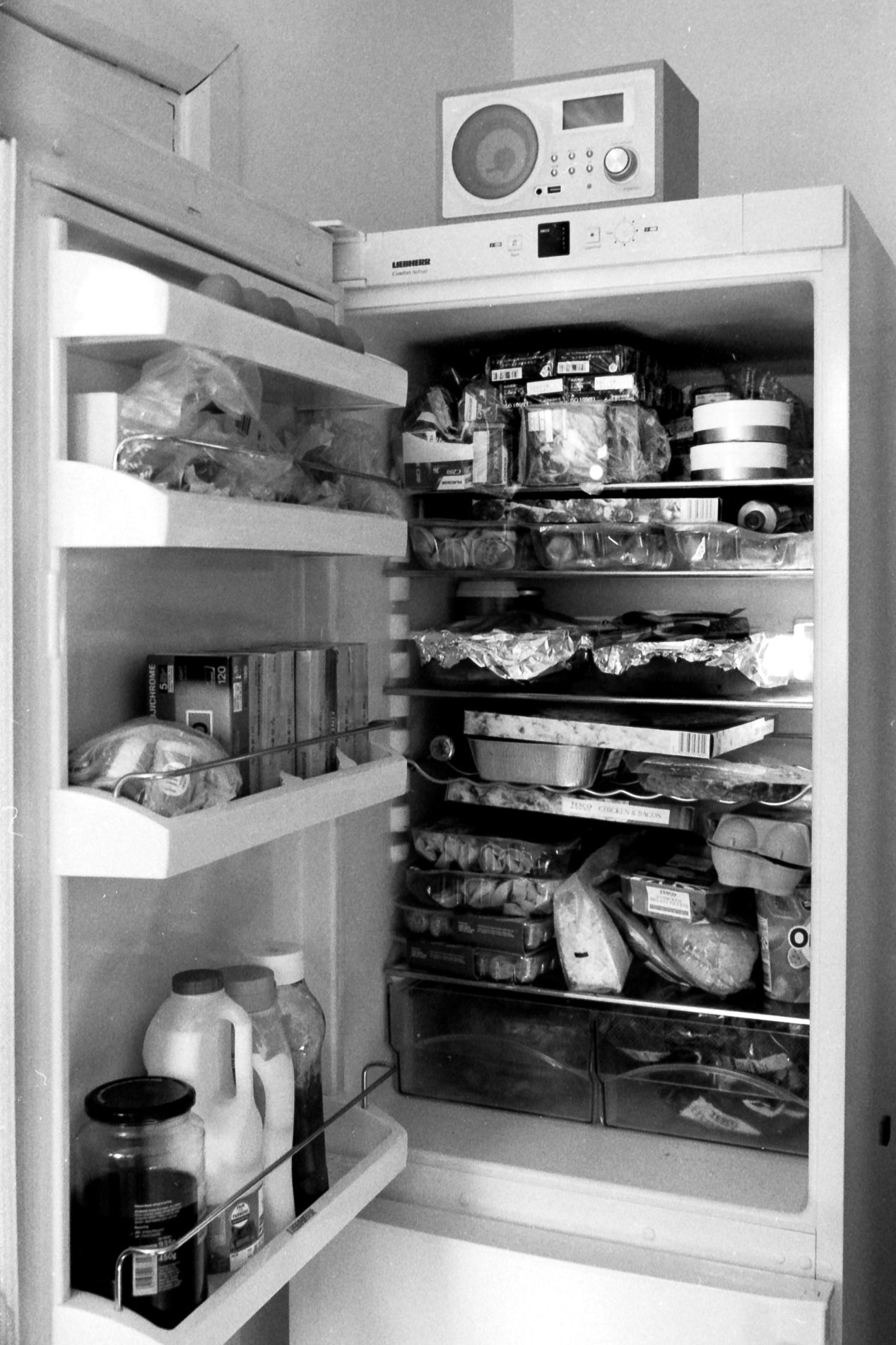 Film in the fridge, April 2020, taken with Olympus IS3000, on Agfa APX400. Developed commercially.