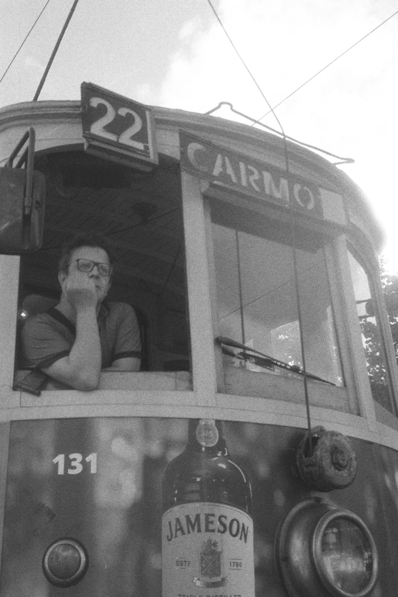 Streetcar in Downtown. Rollei 35 SE.