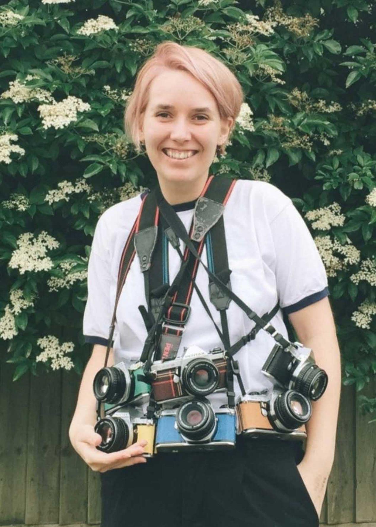 Marina Llopis and her beloved Pentax cameras.