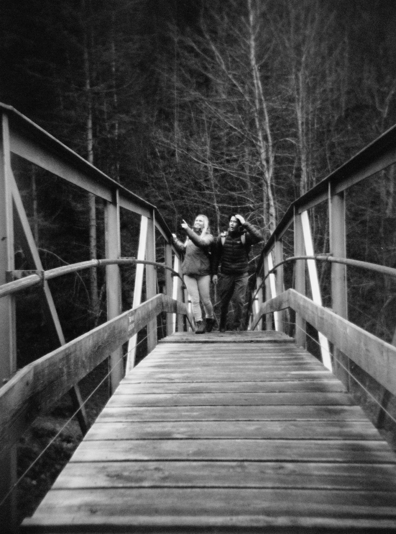 Bridge over frozen water. — St. Niklaus.