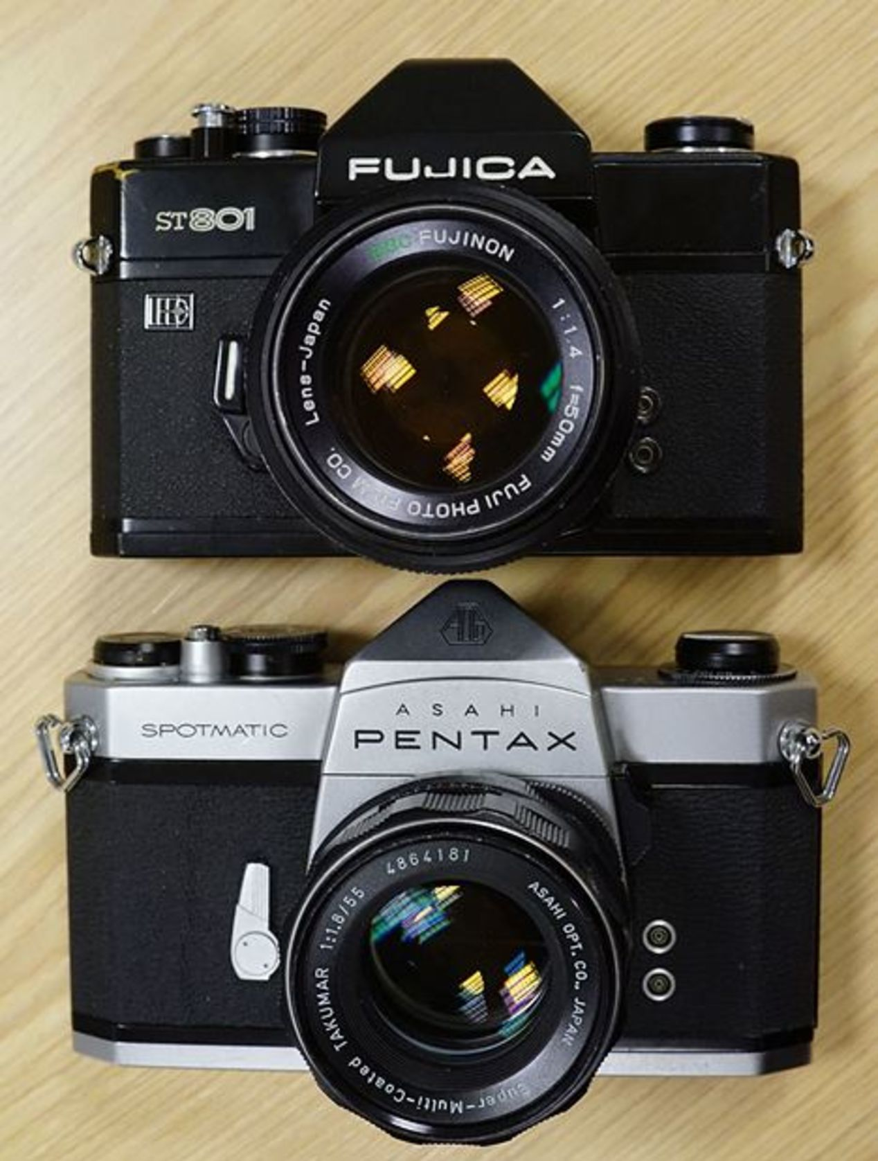 Fujica ST-801 ~$50 and Pentax Spotmatic F ~$50.