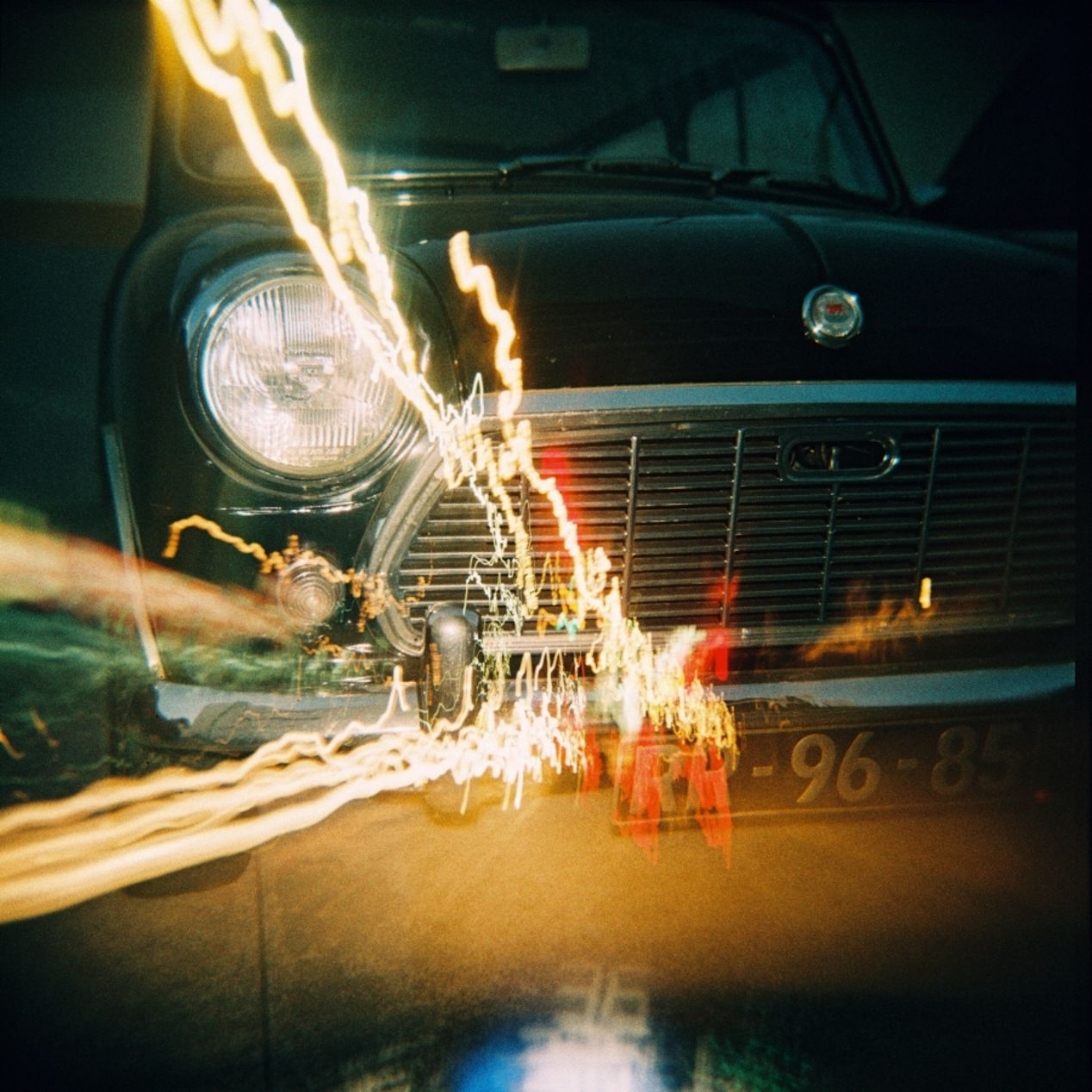 Flashing Mini – Double exposure with lights in bulb shutter.