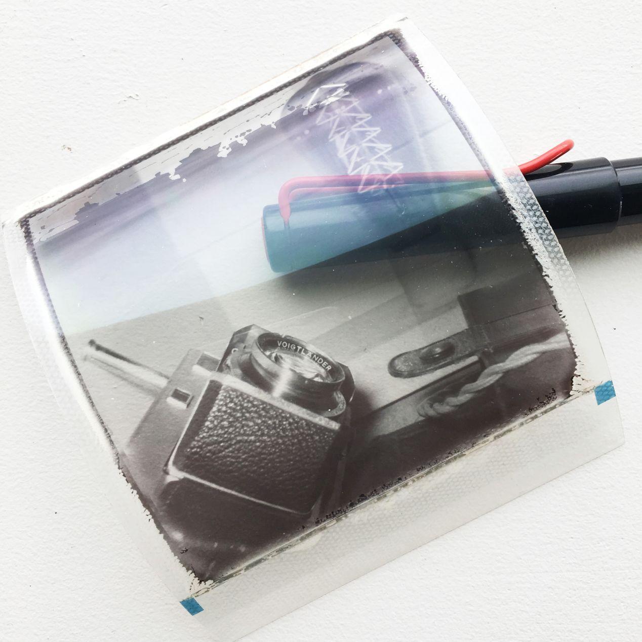 Polaroid SX-70 B&W film transparency.