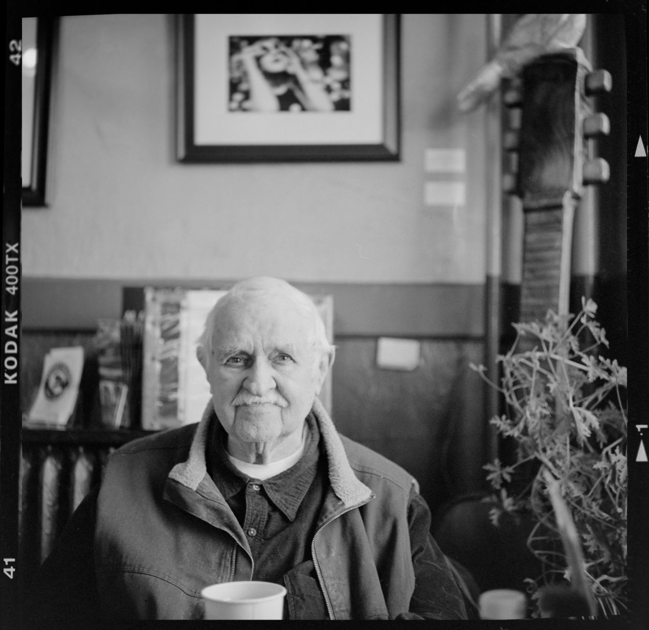 My Dad in a Langhorne Pennsylvania cafe, March 2018. I have coffee with him every workday morning — when I see him on my desk in a framed photograph.