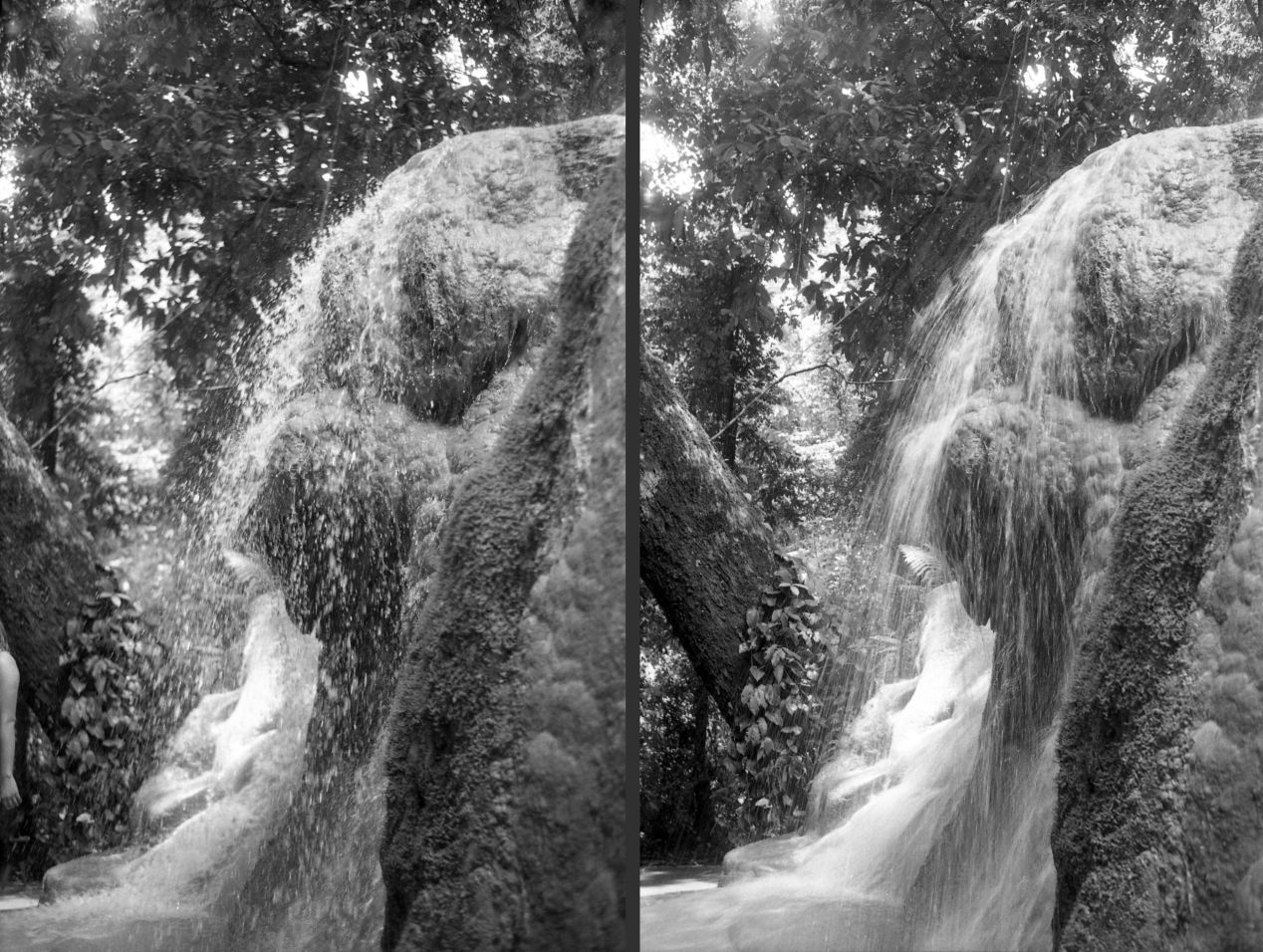 "On the left, the photo is taken with fast shutter speed, allowing the camera to ""freeze"" the water droplets. On the right, the droplets are no longer seen; they have become smudged via motion blur."