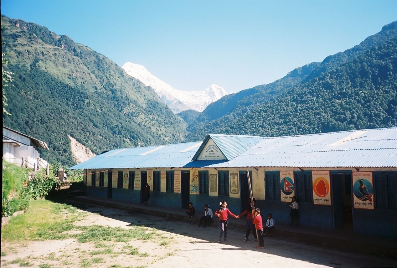 Children who hike for 2hrs to attend school, Taken in Ulleri village, Olympus MjuII, Kodak Colour Plus 200.