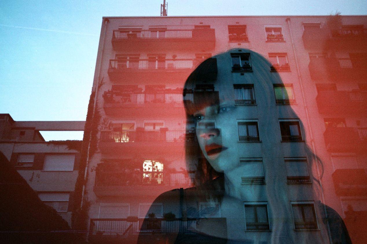 A double exposure by Louis Dazy, taken on Lomochrome Metropolis.