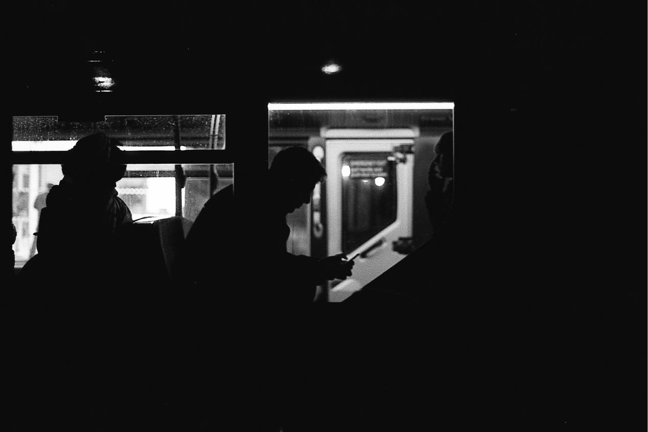 Bus silhouette. Kodak Tri-X, pushed to 1600.