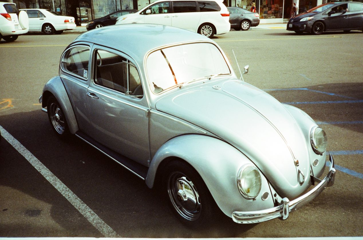 Old Volkswagon Bug in La Jolla, California.  Picture taken with a Yashica T5 and CineStill 800T.