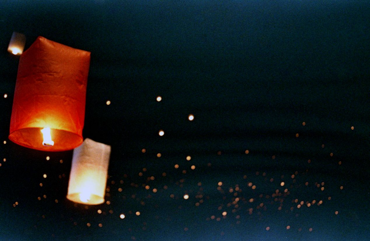 Thousands of sky lanterns floating over Chiang Mai on the night of November 3rd, 2017. All images shot on FED 5 camera with Fuji Natura 1600, pushed to ISO3200.