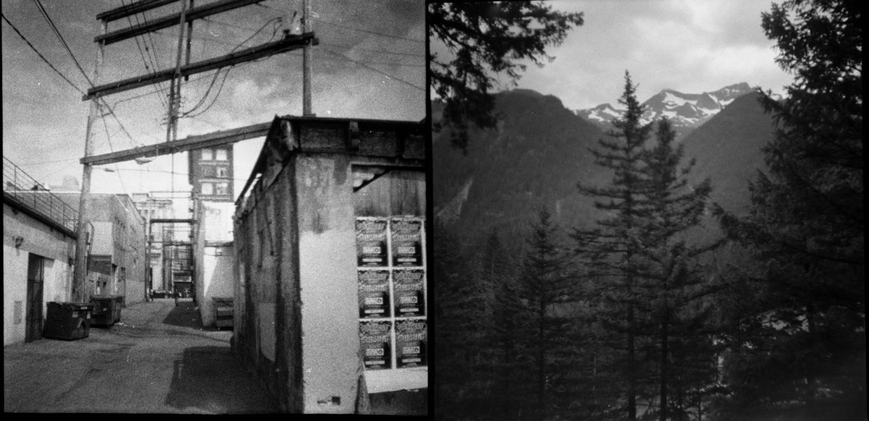 Left: an entrance to one of the back alleys of Downtown Eastside area; needles, crack pipes, homeless, and addicts. Right: coastal mountains.