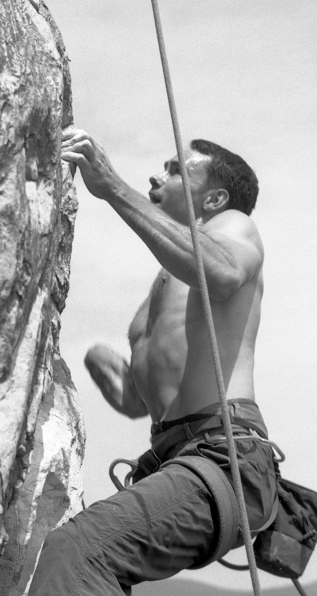 """Chris' final move on the """"Balance of Power"""" (5.12a) route."""