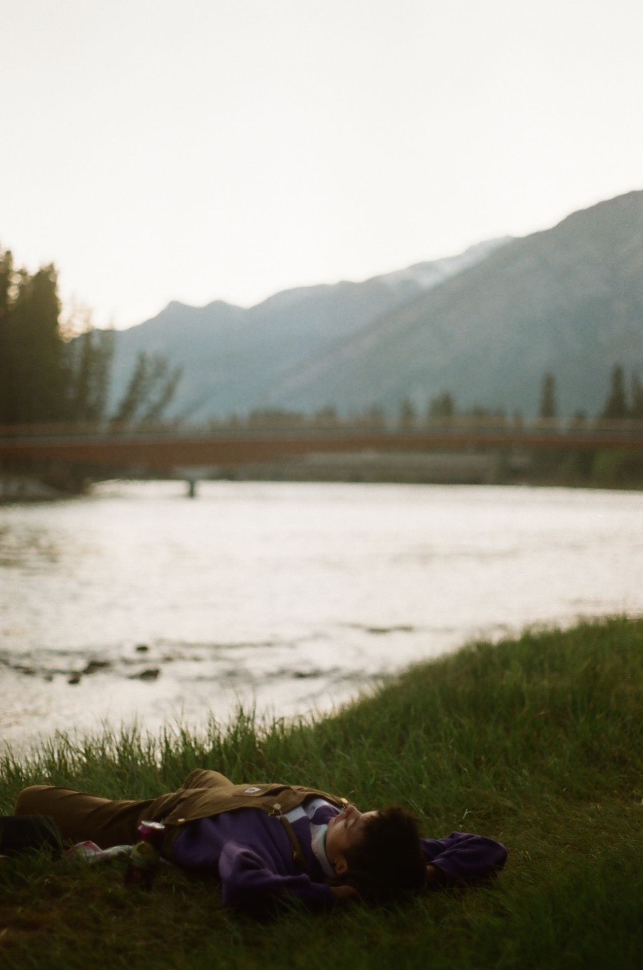 Relaxing by the Bow River, Banff.