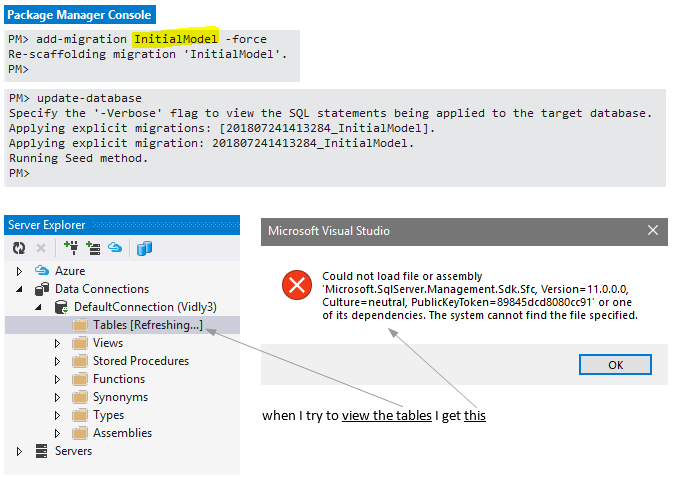 Could not load file or assembly 'Microsoft.SqlServer.Management.Sdk.sfc, Version=11.0.0.0, Culture=neutral or one of its dependencies. The system cannot find the file specified.