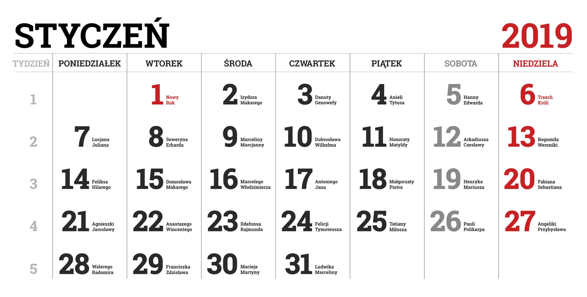 Kalendarium miesiąca stycznia 2019 roku