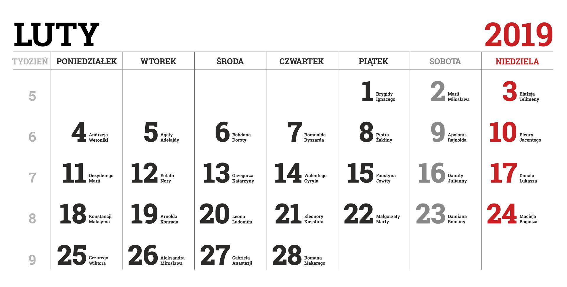 Kalendarium miesiąca lutego 2019 roku