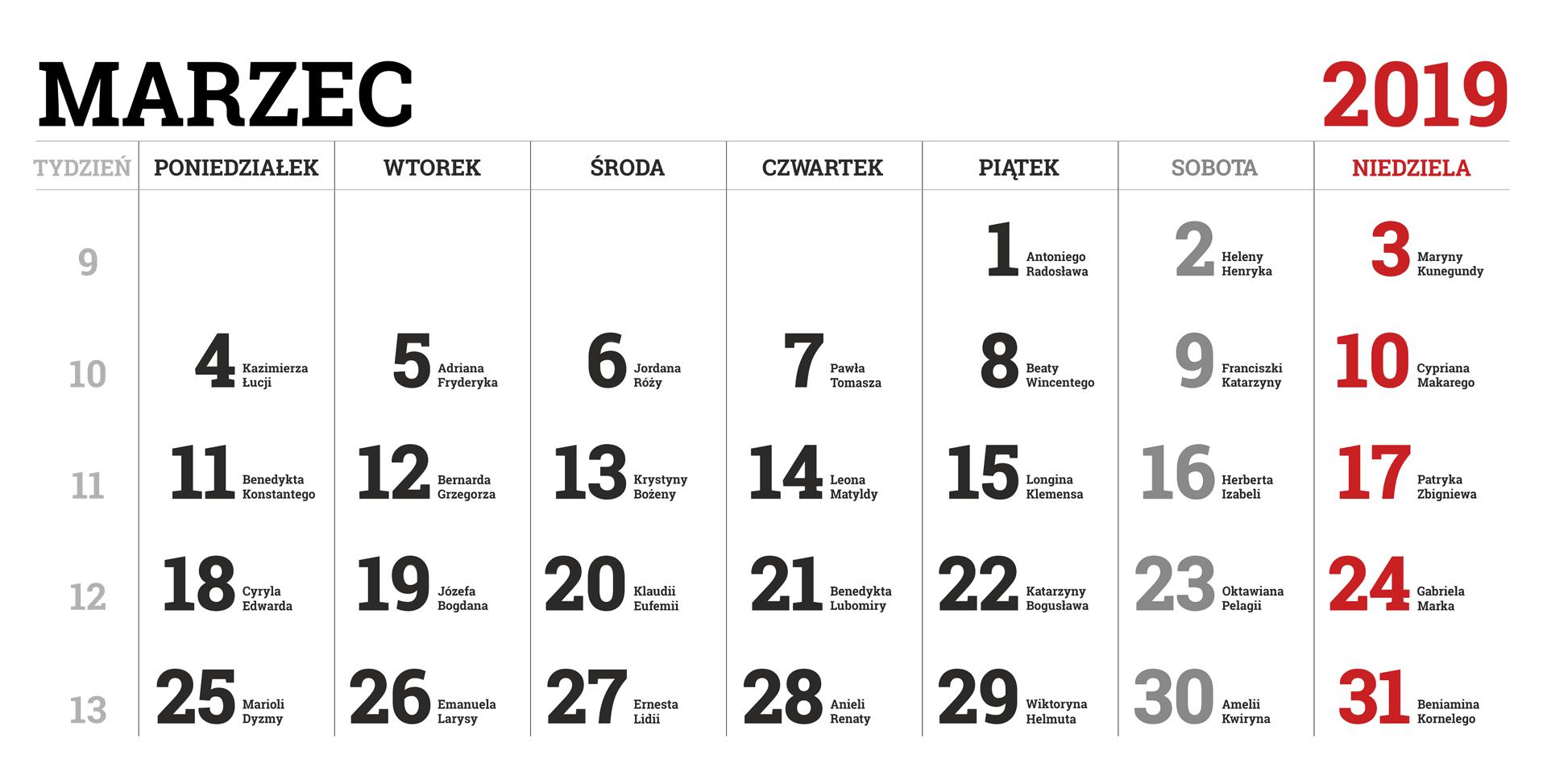 Kalendarium miesiąca marca 2019 roku